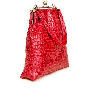 borsa a spalla velluto rosso coccodrillo