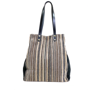 shopping bag velluto righe nero