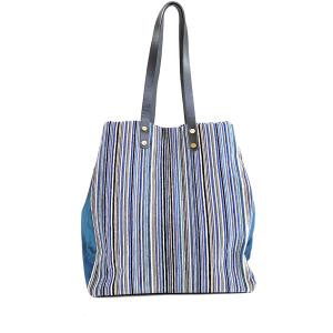 shopping bag velluto stampa riga blu