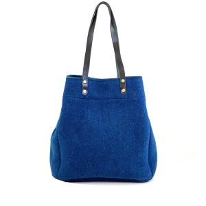 shopping bag lana cotta blu