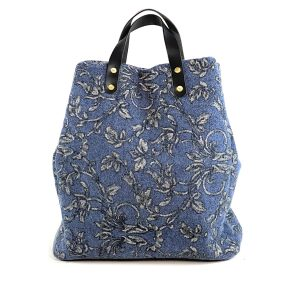 shopping bag blu lana e paillettes