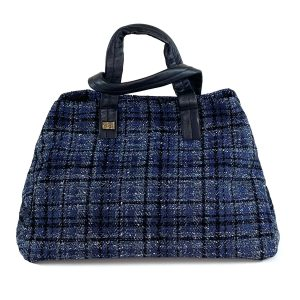 bauletto in lana tweed blu