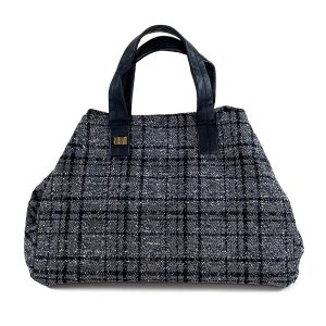 borsa bauletto in tweed grigio