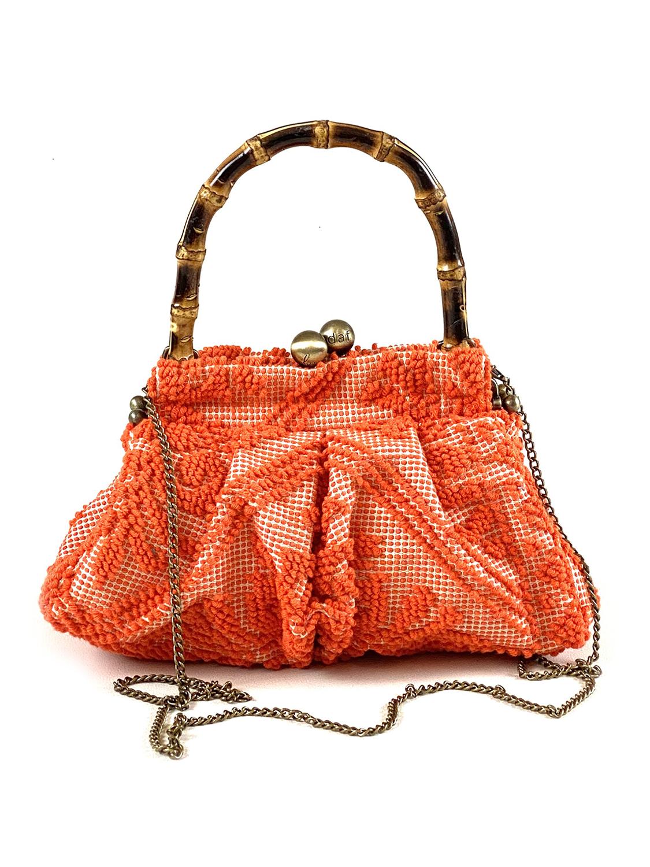 borsa a mano con tracolla tessuto cotone arancio
