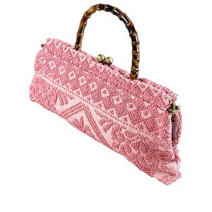 pochette manico bamboo tessuto rosa
