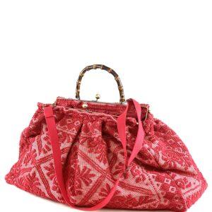 borsone tessuto arazzo rosso trama tappeti salentini