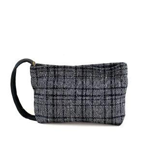 pochette a mano in tweed grigio