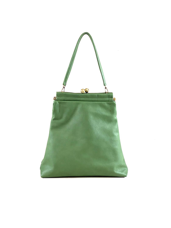 borsa a spalla media pelle verde
