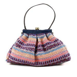shopping bag in rafia e cotone viola
