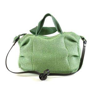 borsa bauletto di paglia verde