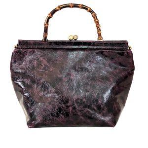 shopping bag squadrata in pelle vintage bordeaux
