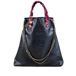 shopping bag pelle nera