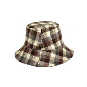 cappello lana quadri tortora