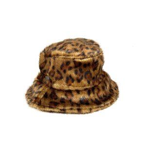 cappello leopardato marrone